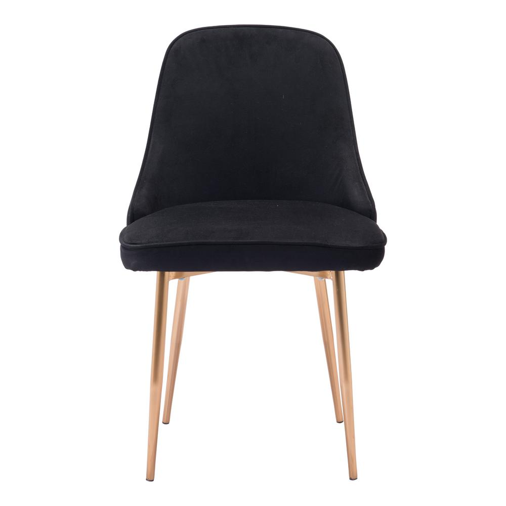 Zuo Merritt Black Velvet Dining Chair 100856 The Home Depot