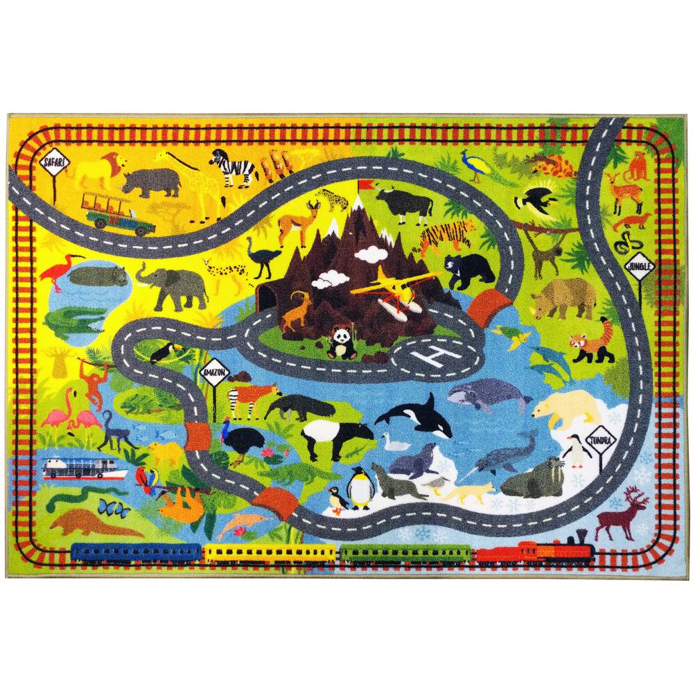 Multi-Color Kids Children Bedroom Playroom Animal Safari Road Map Educational