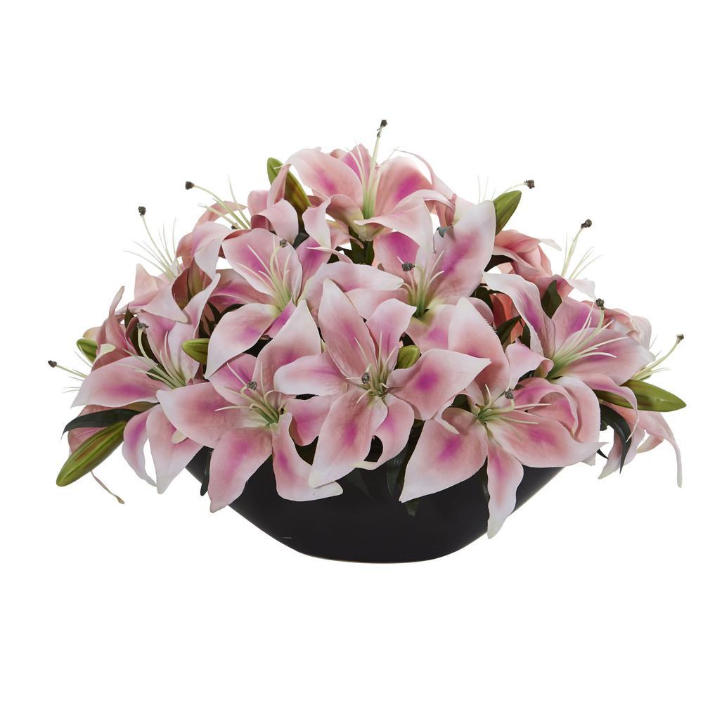 Pink Lily Centerpiece Artificial Floral Arrangement