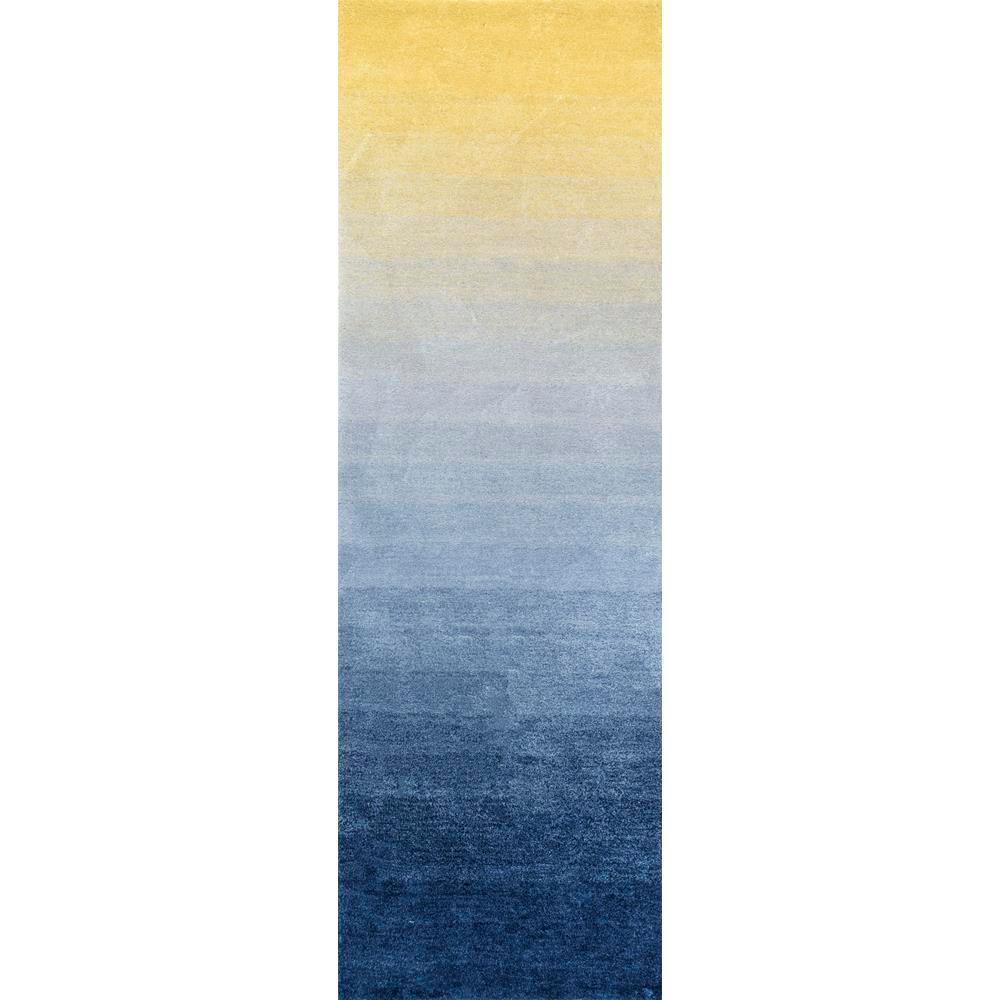 Ombre Hertha Shaggy Navy 3 ft. x 8 ft. Runner Rug