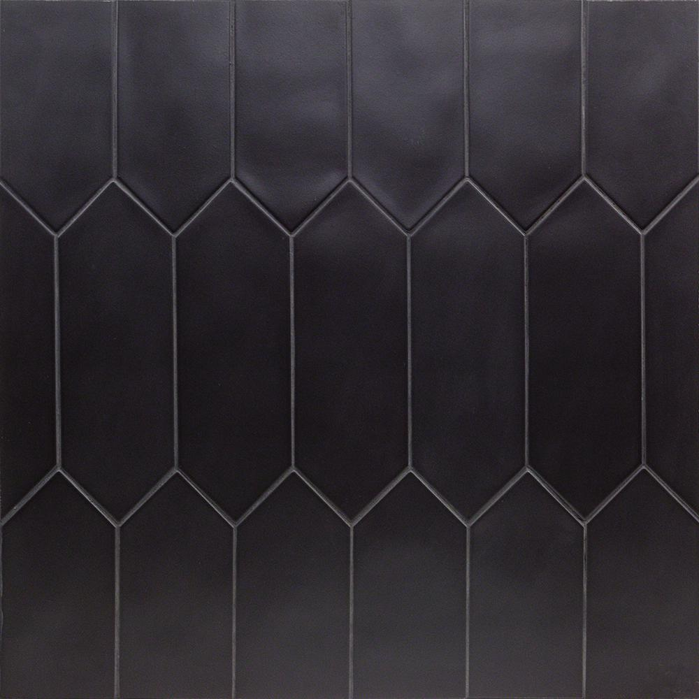 Ivy Hill Tile Russell Black 4 In X 12 In 10 Mm Matte