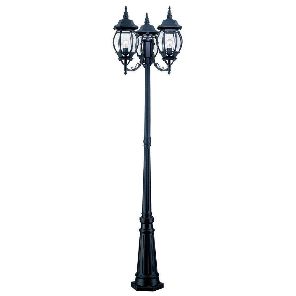Line voltage post lighting outdoor lighting the home depot chateau 3 head matte black outdoor surface mount post combination workwithnaturefo