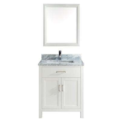 Kalize 30 in. Vanity in White with Marble Vanity Top in Carrara White and Mirror