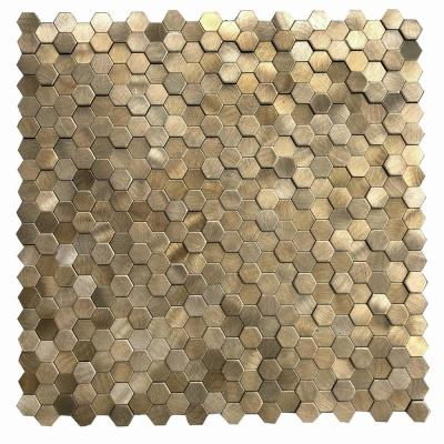 DIP Mini Gold Hex Tile 12 in. x 12 in. Self-Adhesive PVC Backsplash (10 pack)