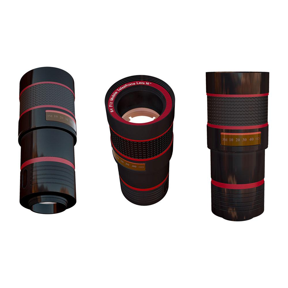 Tzumi SmartLens Zoom Lens, Black/Red