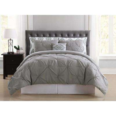 Pueblo Pleated Grey Twin Bed in a Bag