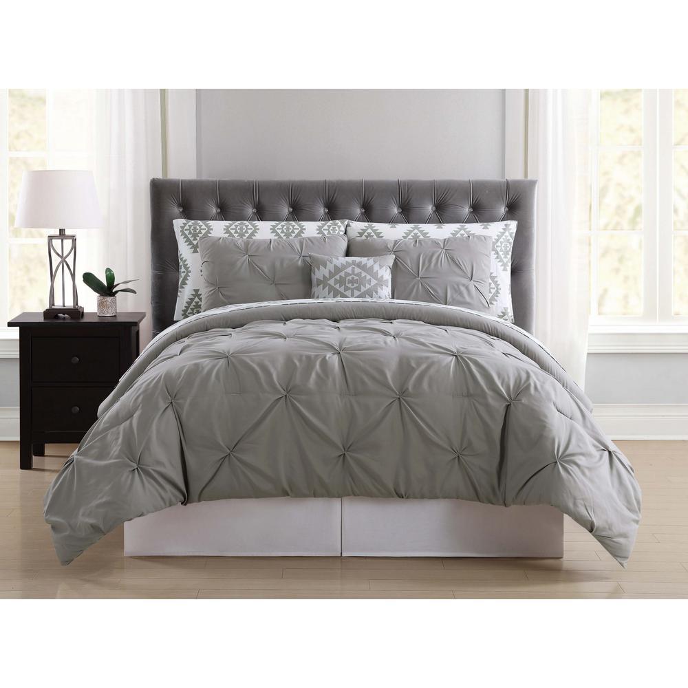 Superb Pueblo Pleated Grey Twin XL Bed In A Bag