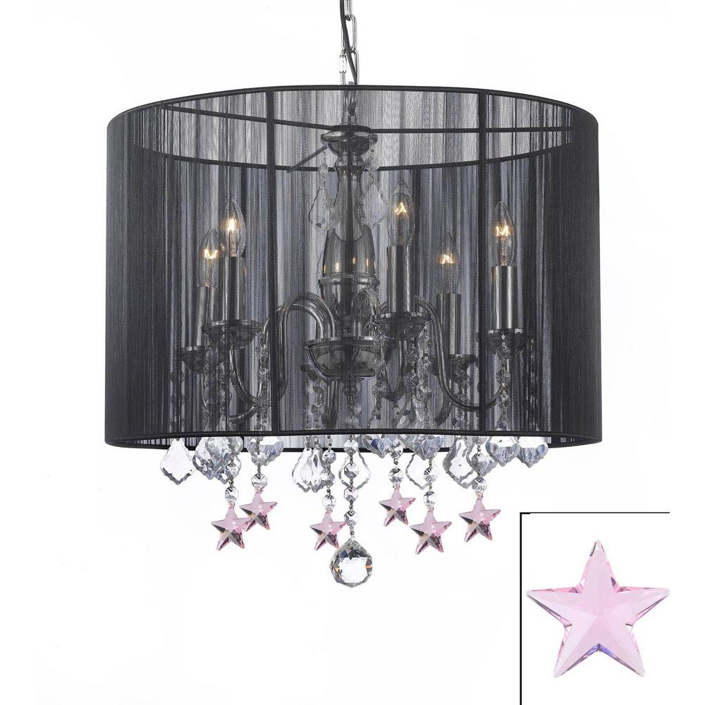 Harrison Lane Empress 6 Light Black Chandelier With Shade And Pink Crystal Stars