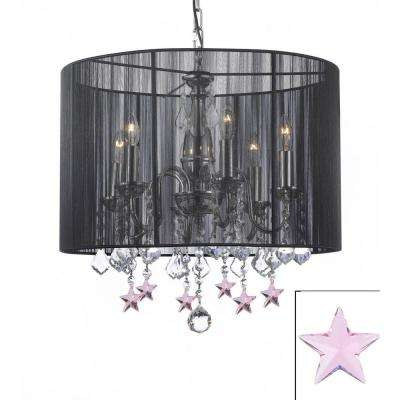 Empress 6-Light Black Chandelier with Black Shade and Pink Crystal Stars