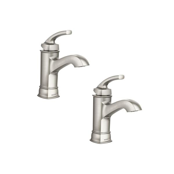 Hensley Single Hole Single-Handle Bathroom Faucet Featuring Microban Protection in Spot Resist Brushed Nickel (2-Pack)