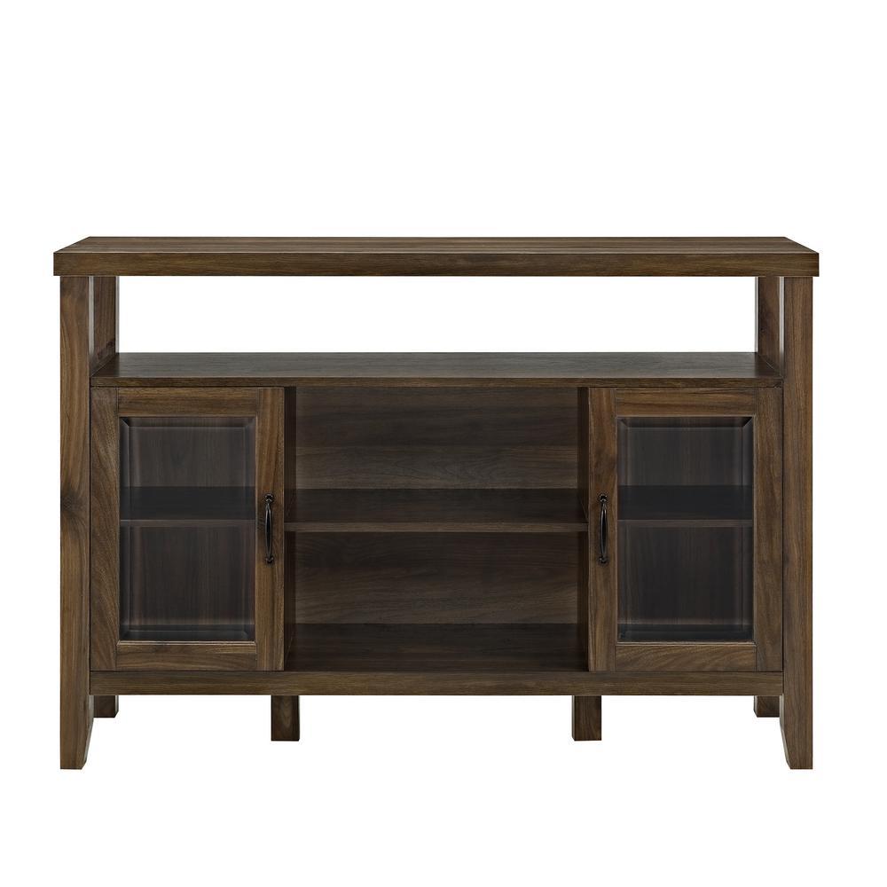 Walker Edison Furniture Company 52 In. Dark Walnut Wood Console High Boy  Buffet