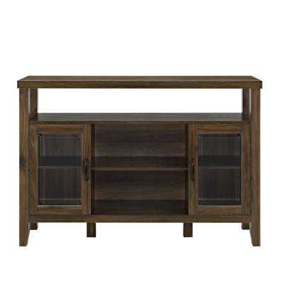 Dark Walnut Wood Console High Boy Buffet