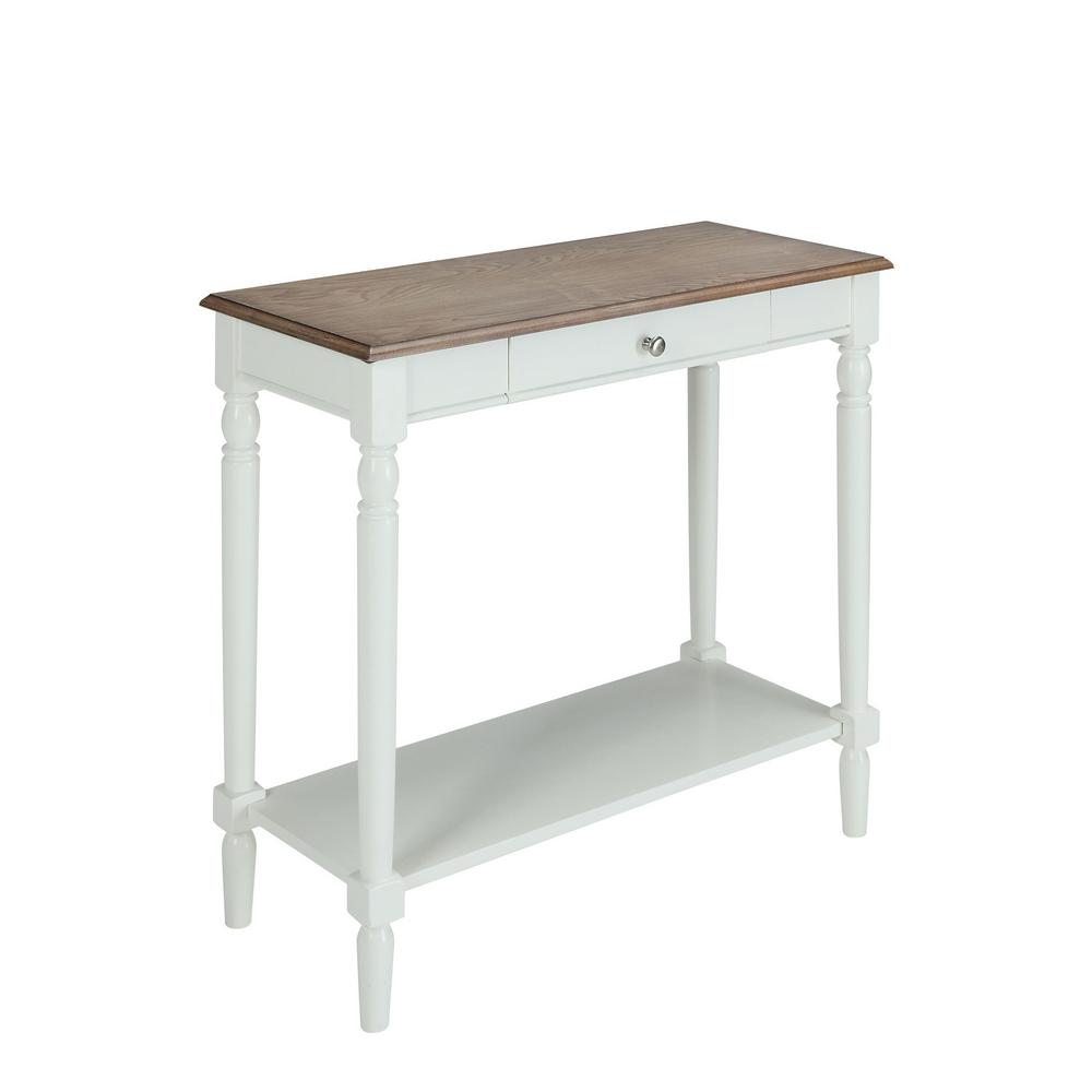 French Country Driftwood and White Hall Table