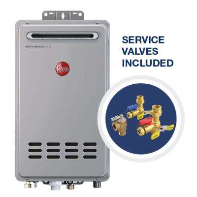 Performance Plus 8.4 GPM Natural Gas Mid Efficiency Outdoor Tankless Water Heater with Brass Service Valves Bundle