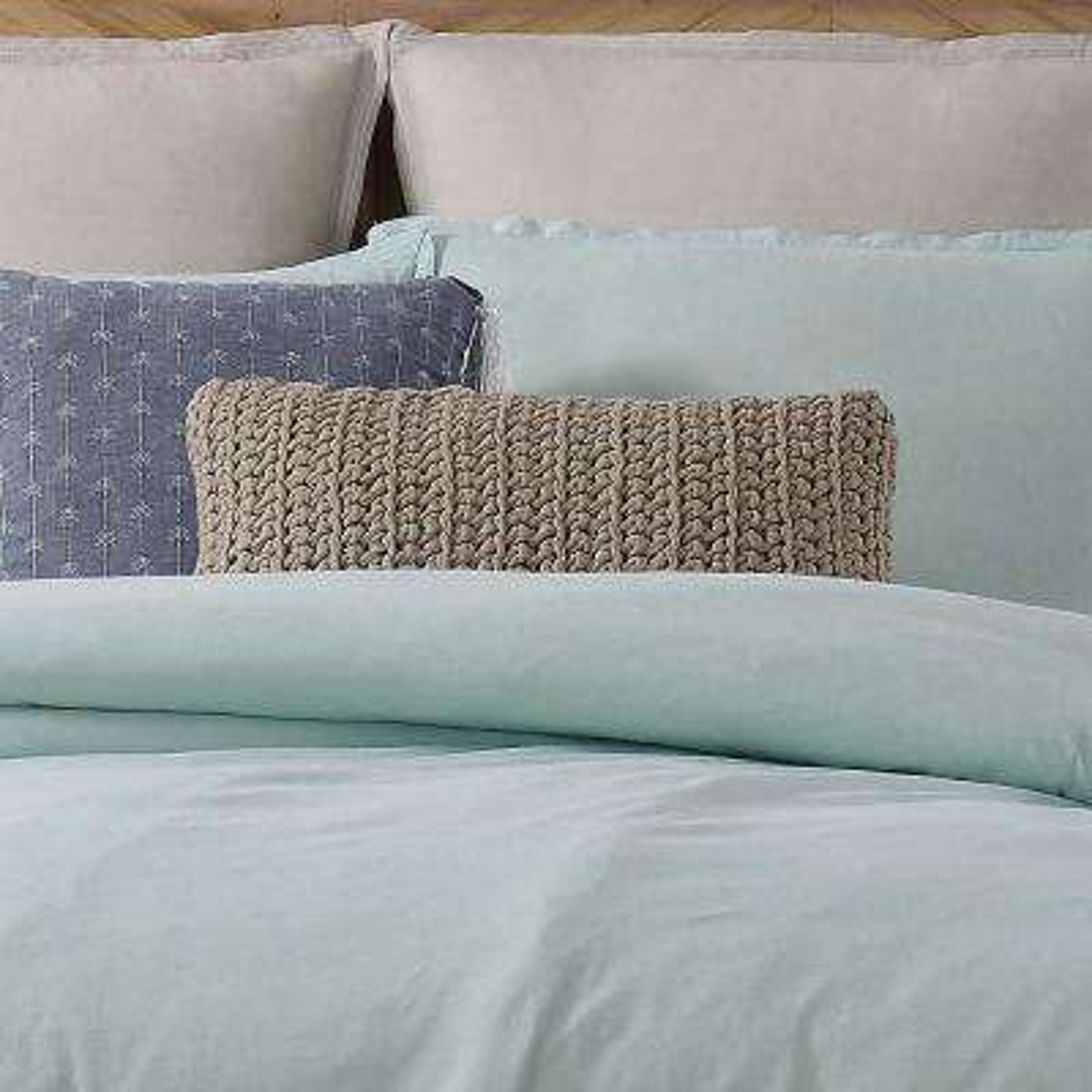 Chambray Loft Grey Rectangle Pillow