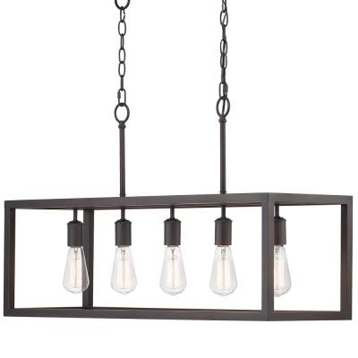 Boswell Quarter 5-Light Distressed Black Island Chandelier