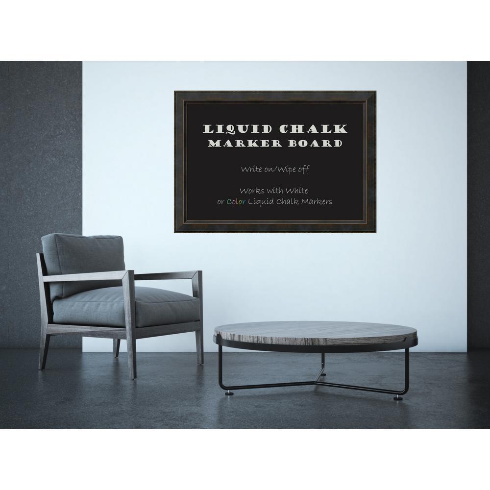 Signore Bronze Wood 41 in. W x 29 in. H Framed Liquid Chalk Marker Board