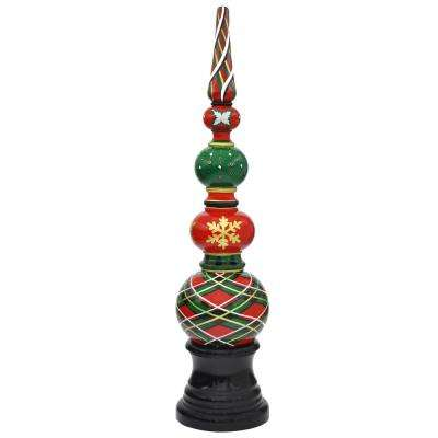 h green plaid holiday topiary with pedestal base in composite - Topiary Christmas Decorations