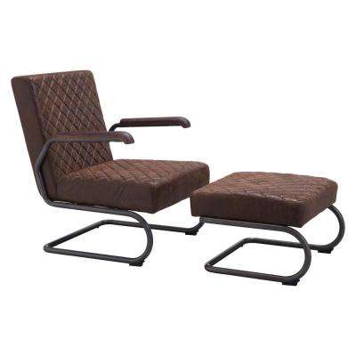 Father Vintage Brown Leatherette Arm Chair with Ottoman