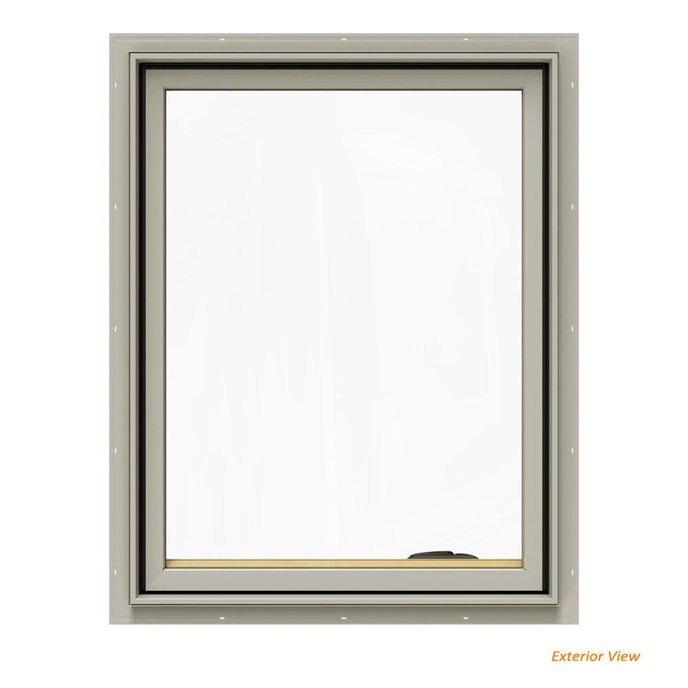24.75 in. x 36.75 in. W-2500 Series Desert Sand Painted Clad Wood Right-Handed Casement Window w/ BetterVue Mesh Screen