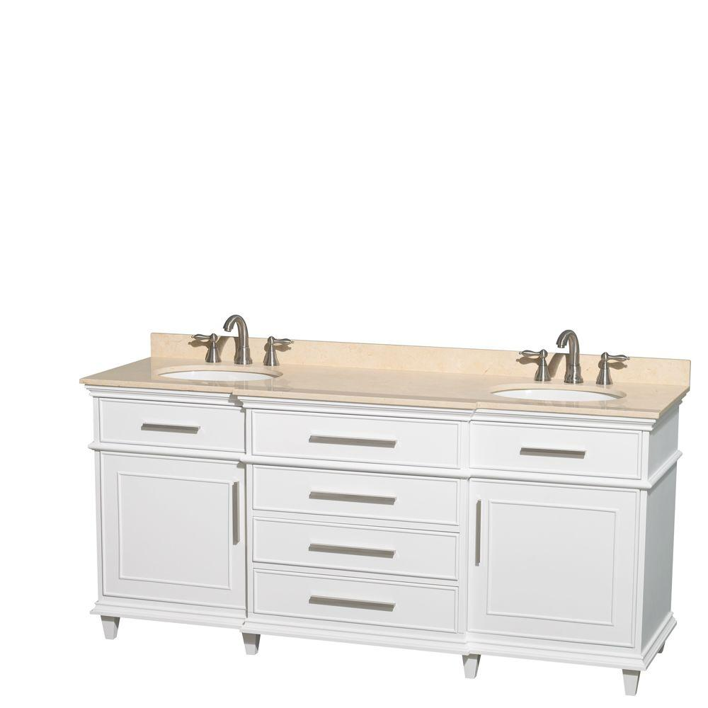 Double Vanity White Marble Vanity Top White Oval Sink Mirror Photo 1467