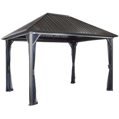 12 ft  D x 16 ft  W Genova II Double-Roof Aluminum Gazebo with Galvanized  Steel Roof Panels and Mosquito Netting