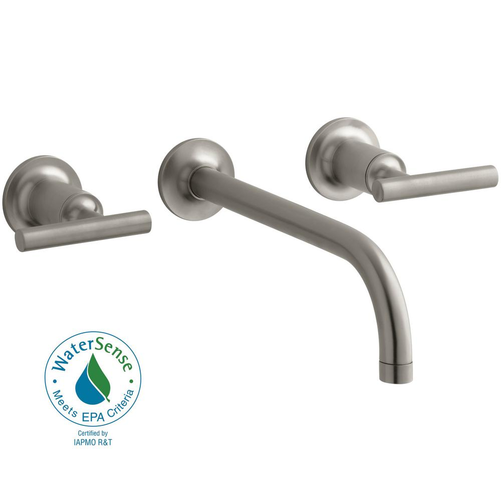 Purist Wall-Mount 2-Handle Low-Arc Faucet Trim in Vibrant Brushed Nickel (Valve