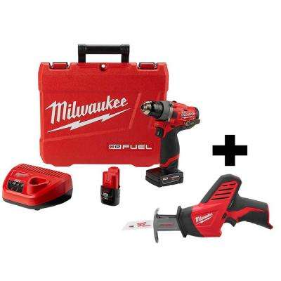 M12 FUEL 12-Volt Lithium-Ion Brushless Cordless 1/2 in. Drill Driver Kit with Free M12 HACKZALL