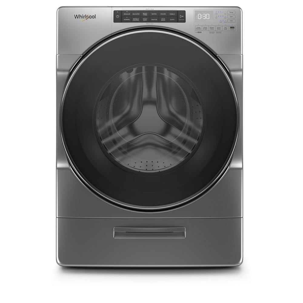Whirlpool 4 5 Cu Ft High Efficiency Chrome Shadow Stackable Front Load Washing Machine With Go Xl Dispenser Energy Star