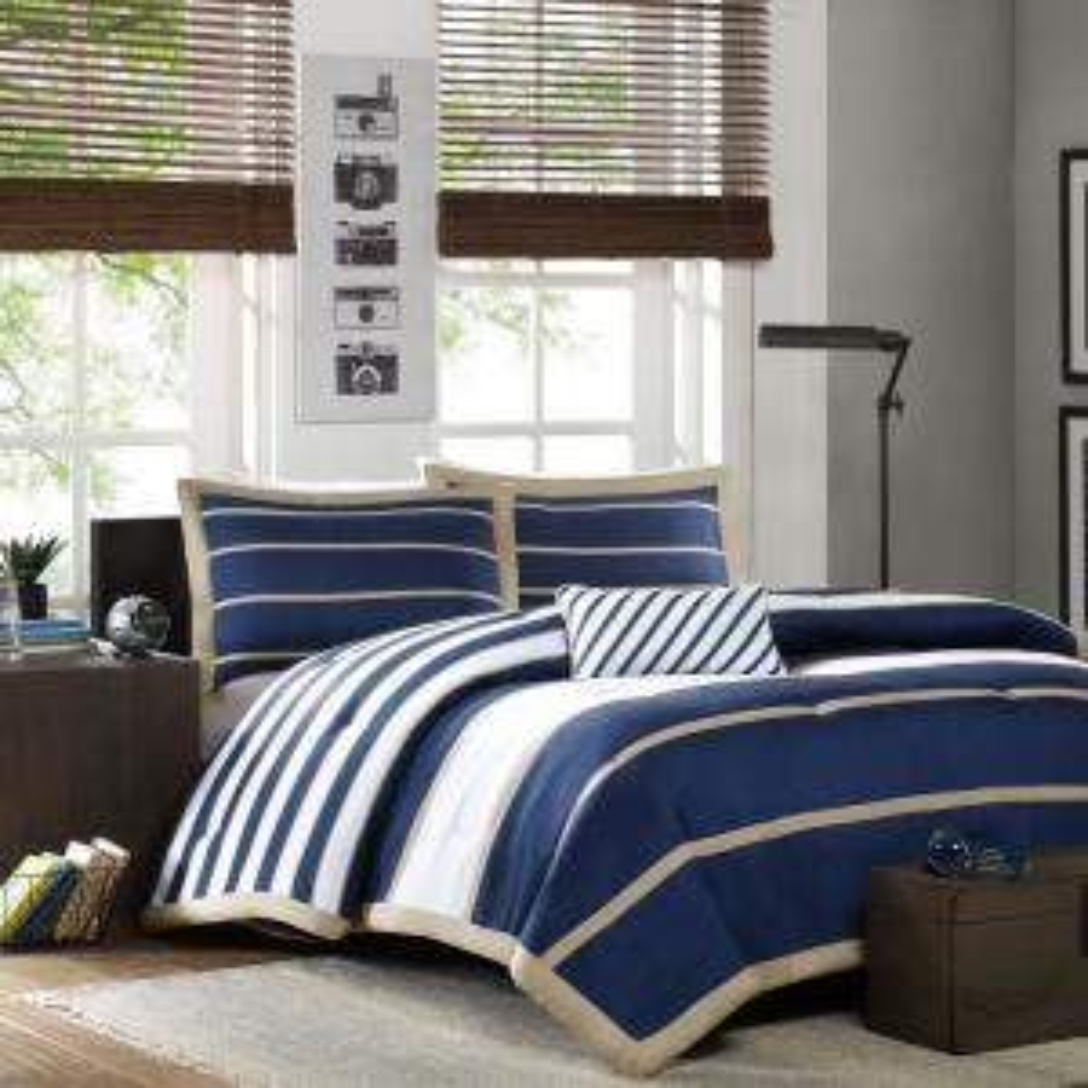Jonah 4-Piece Navy King/Cal King Print Comforter Set