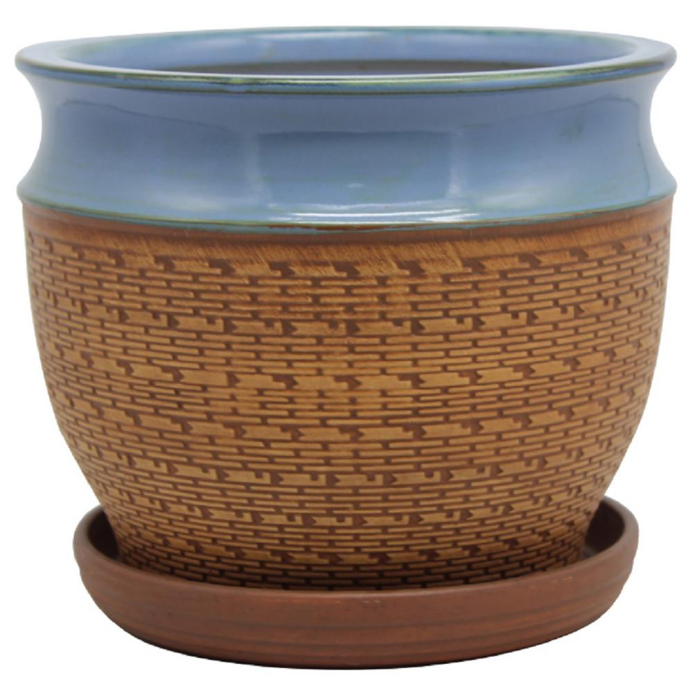 11 in. Dia Blue Textured Brick Pot