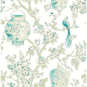 Eureka, Teal Serenity Lanterns Paper Strippable Wallpaper Roll (Covers 56.4 sq. ft.)