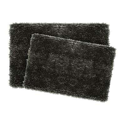 Mega Butter Chenille 17 in. x 24 in./20 in. x 32 in. 2-Piece Bath Mat Set in Charcoal