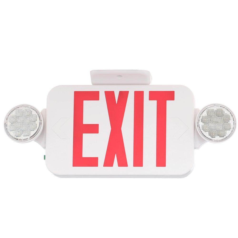 Progress Lighting Thermoplastic LED Emergency/Exit Sign with Red Letters