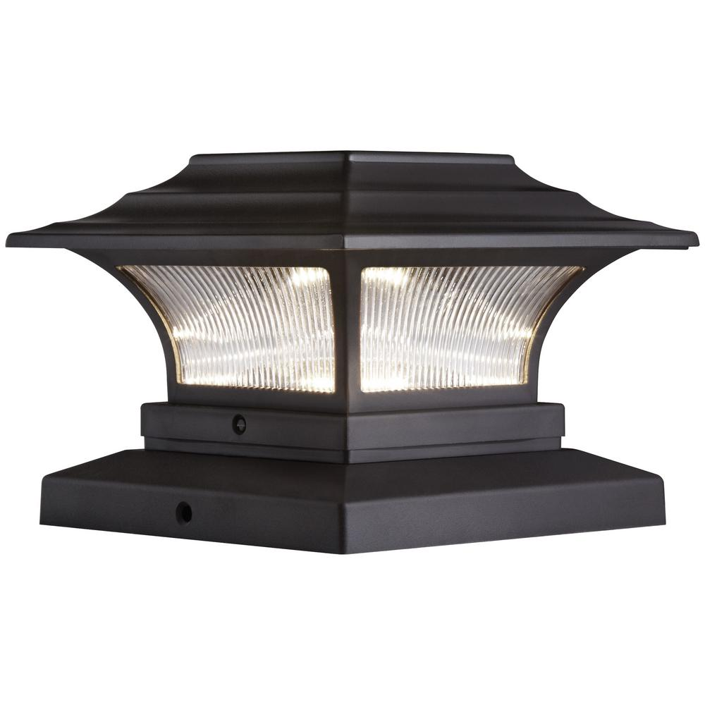 Hampton bay solar 4 in x 4 in bronze outdoor integrated led deck bronze outdoor integrated led deck post aloadofball Image collections