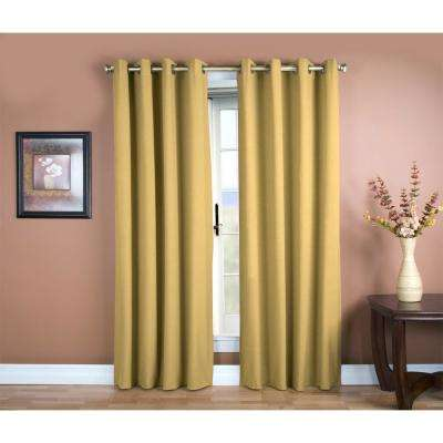 Glasgow 56 in. W x 63 in. L Woven Grommet Top Window Panel in Gold Leaf