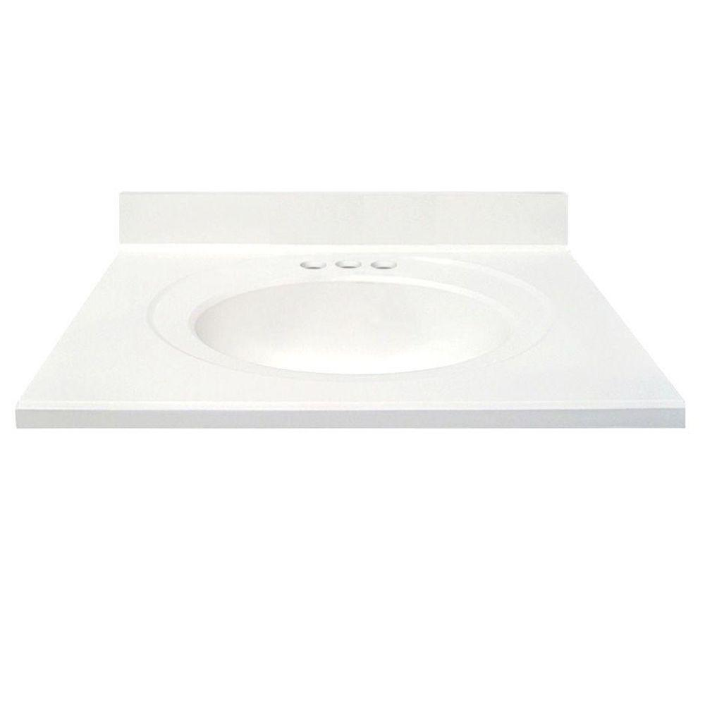 US Marble 31 in. Cultured Marble Vanity Top in Solid White Color with Integral Backsplash and Solid White Bowl