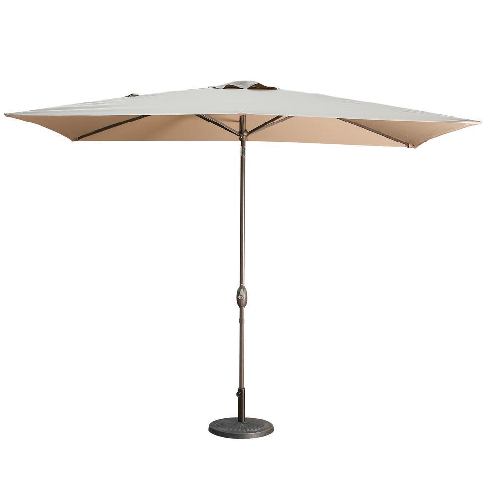 10 ft. Aluminum LED Market Patio Umbrella in Brown