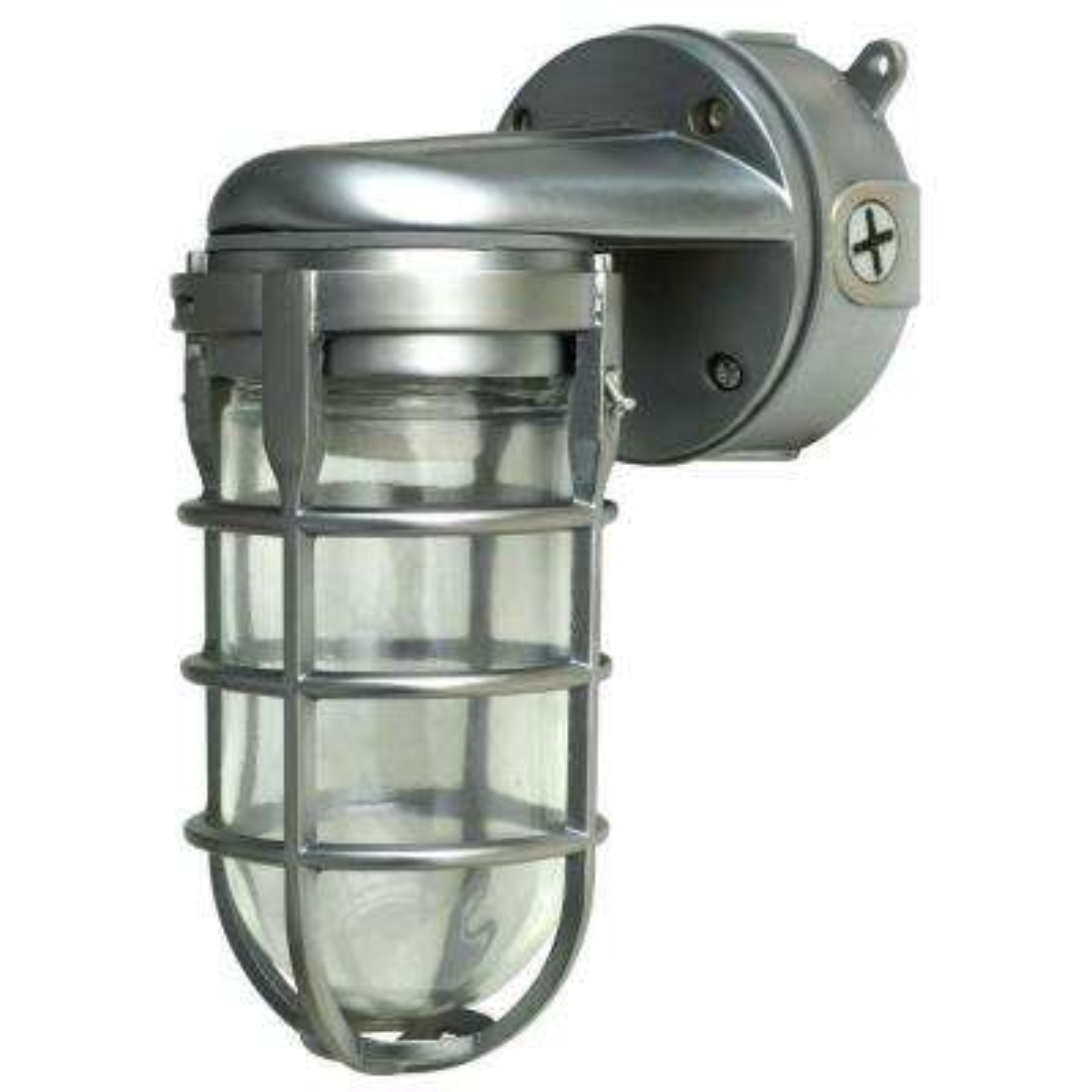 100-Watt Brushed Steel Incandescent Industrial Flushmount Wall Light
