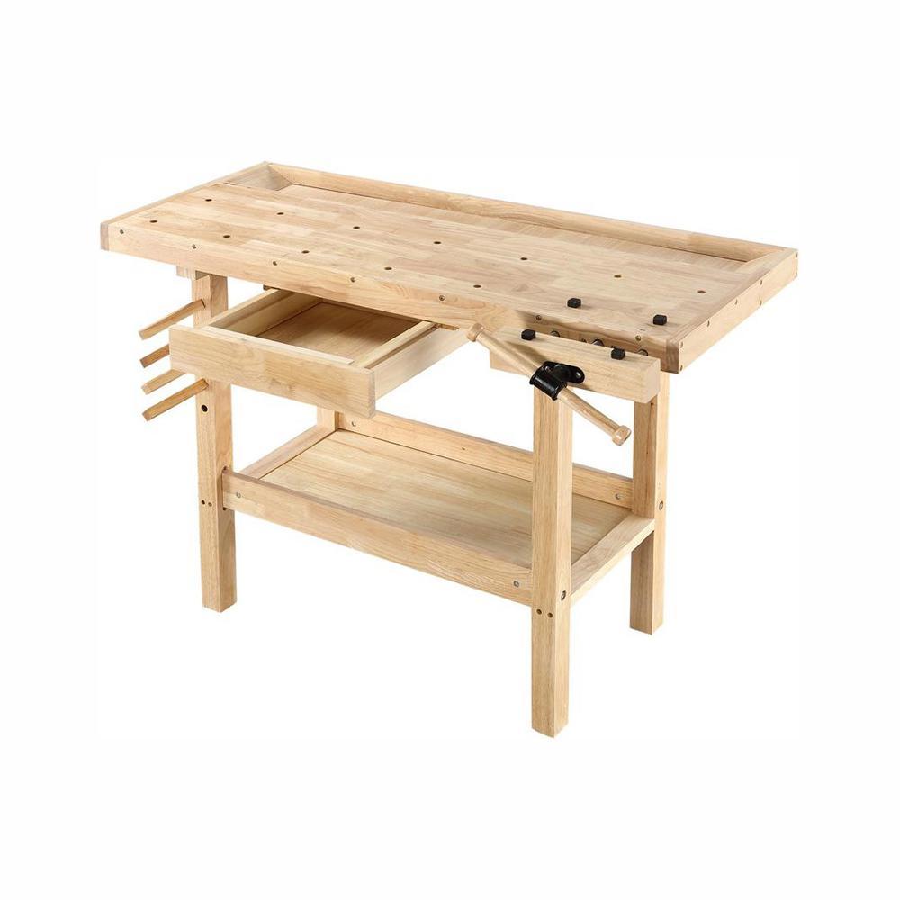 Surprising Details About Wooden Wood Workbench With Vise Garage Shop Work Table Storage Shelf 4 X 2 Ft Short Links Chair Design For Home Short Linksinfo