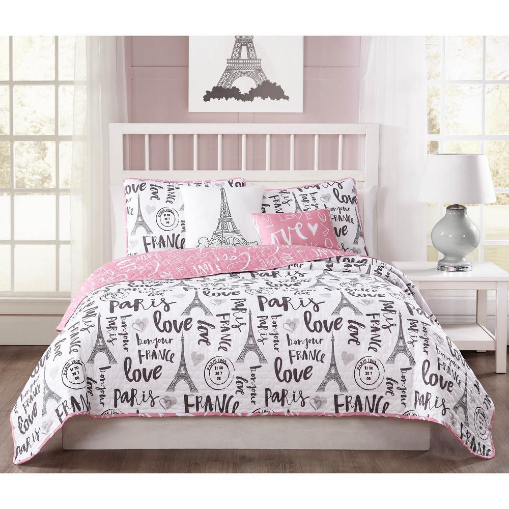 Bonjour 5-Piece Pink/Black/White Reversible Queen Quilt Set YMZ007004