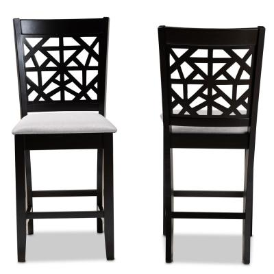 Devon 25 in. Grey and Espresso Brown Pub Chair (Set of 2)