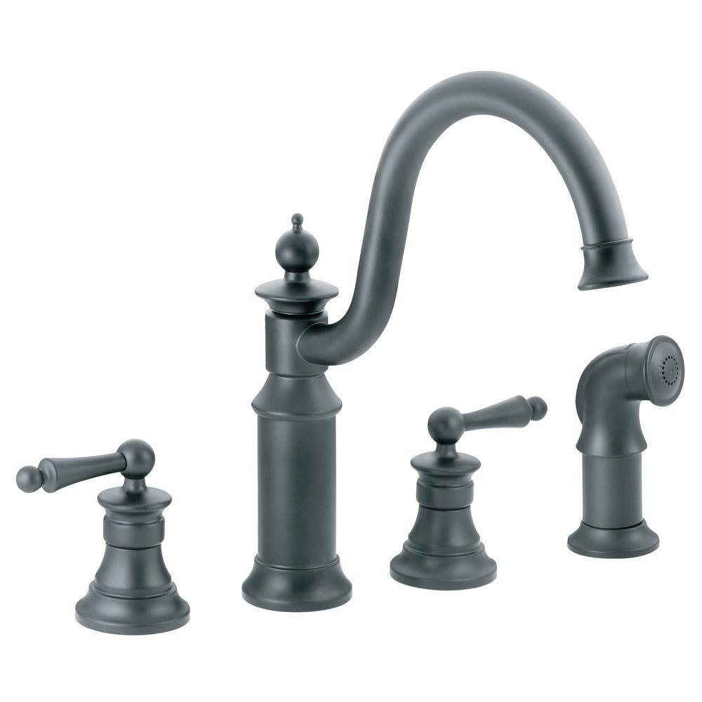 MOEN Waterhill High-Arc 2-Handle Standard Kitchen Faucet with Side Sprayer in Wrought Iron