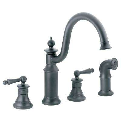 Waterhill High-Arc 2-Handle Standard Kitchen Faucet with Side Sprayer in Wrought Iron
