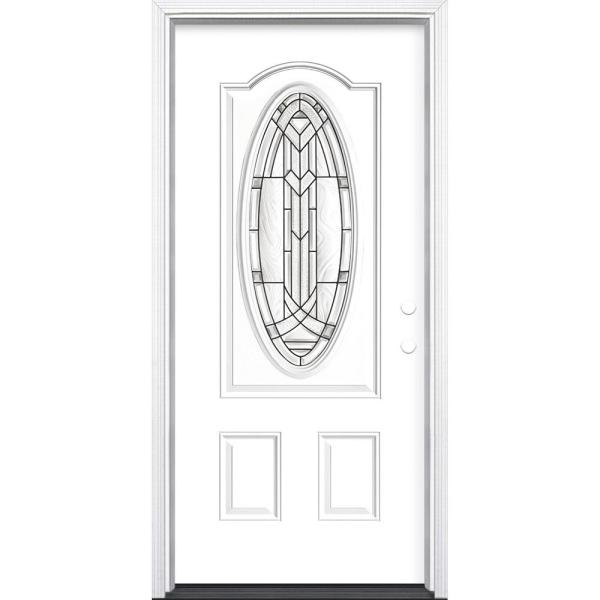 Masonite 36 In X 80 In Chatham 3 4 Oval Lite Left Hand Inswing Painted Steel Prehung Front Exterior Door With Brickmold 28213 The Home Depot
