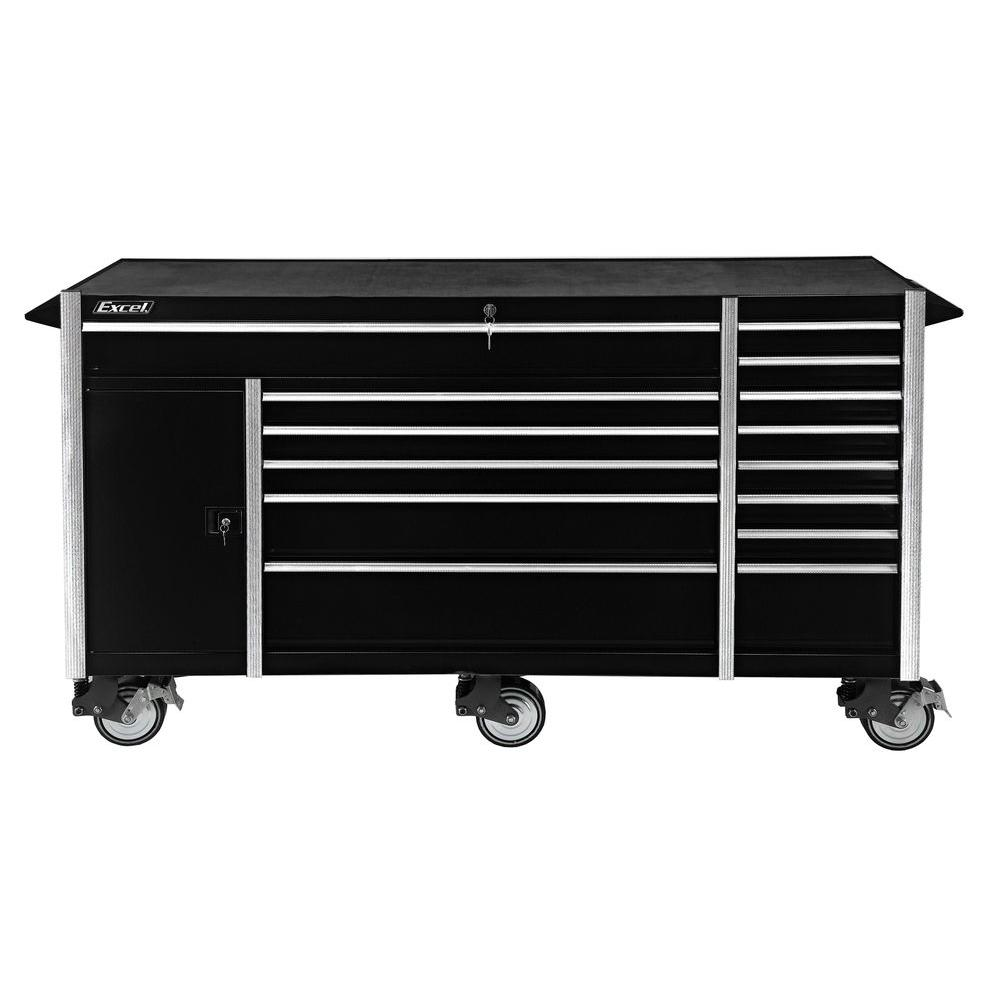 Excel 72 In Roller Cabinet In Black Tb7207 X The Home Depot