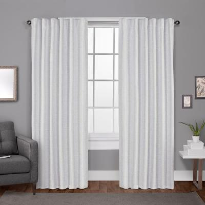 Zeus 52 in. W x 96 in. L Woven Blackout Hidden Tab Top Curtain Panel in Winter White (2 Panels)