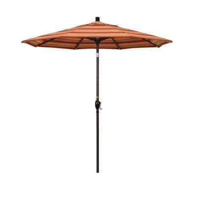 7.5 ft. Bronze Aluminum Market Push Button Tilt Crank Lift Patio Umbrella in Astoria Sunset Sunbrella