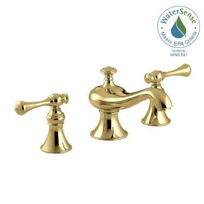 Revival 8 in. Widespread 2-Handle Low-Arc Water-Saving Bathroom Faucet in Vibrant Polished Brass