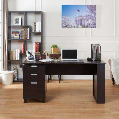 Payton Espresso Desk with Built-in File Cabinet